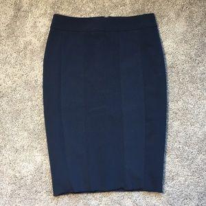 Ann Taylor Navy Midi Pencil Skirt Sample